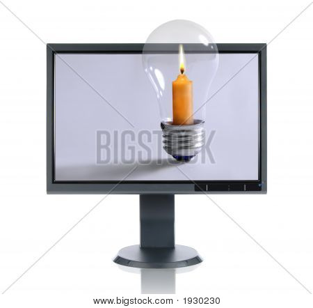 Lcd Monitor And Candle