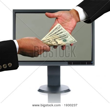 Lcd Monitor And Money Exchange