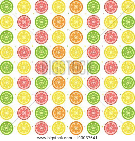 Illustration of  citrus fruits pattern on a white background.