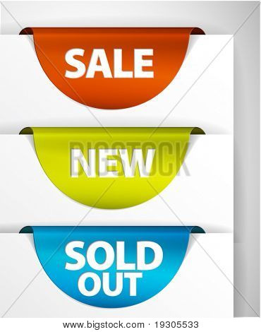 Round Sale / New / Sold out label / Sticker on the edge of the (web) page
