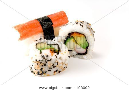 Sushi Rolls And Crab