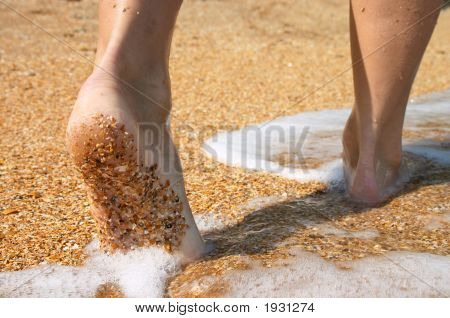 Barefoot In Surf On Sand Coast