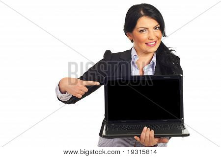 Business Woman Pointing To Laptop Screen