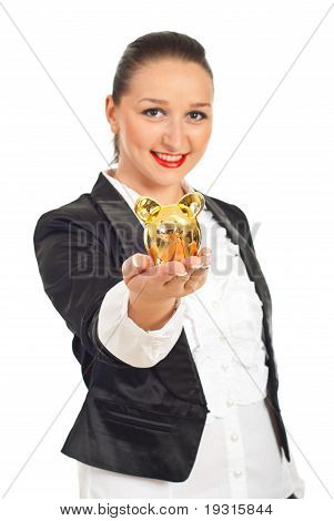 Smiling Executive With Piggy Bank In Her Hand