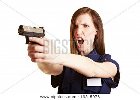 Police Woman Firing Her Weapon