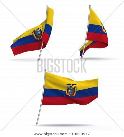 flags of Ecuador waving in the wind