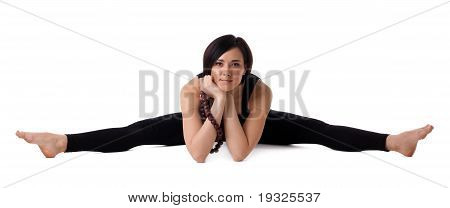 woman sit in yoga with beads - Upavistha Konasana