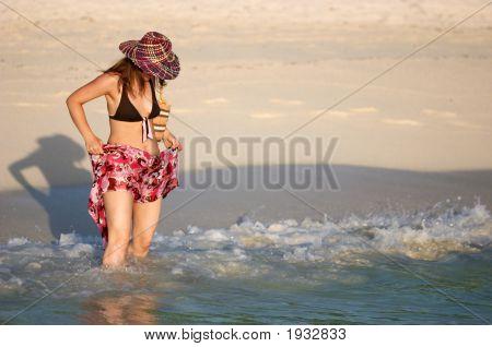 Young Girl Splashing Water