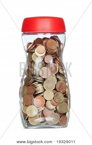 Glass Bottle Full Of Coins