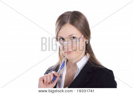 Business Woman With Pen