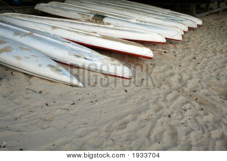 Beached Kayaks
