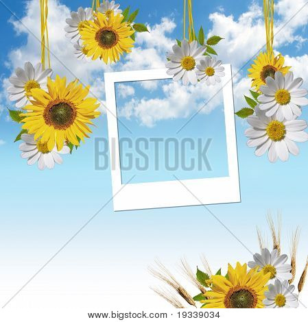 Empty Photo Frames Over Sky Background