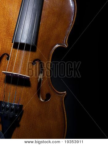 Violin  close up on Black