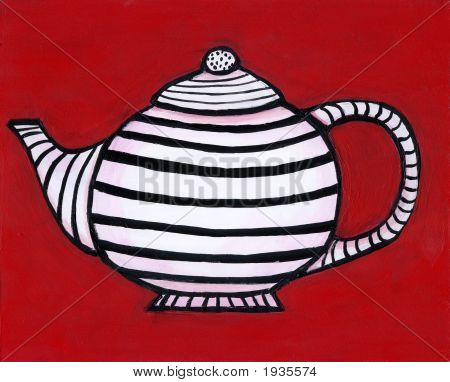 Black And White Striped Teapot