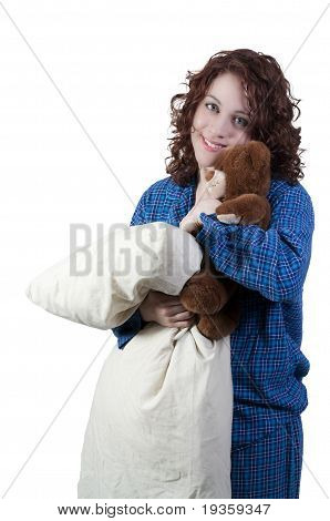 Woman Hugging Teddy Bear And Pillow