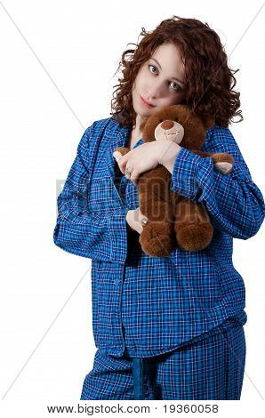 Woman Hugging Teddy Bear
