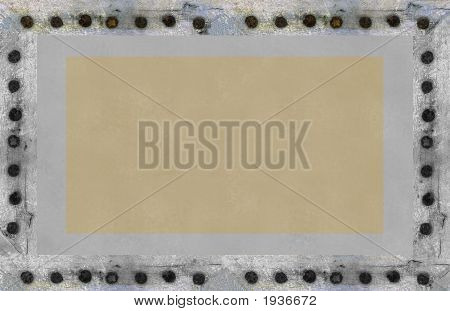 Silver Grunge Frame Or Plate With Rivets