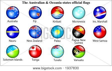Australien & Ozeanien Staaten offizielle Flaggen Glossy.Eps