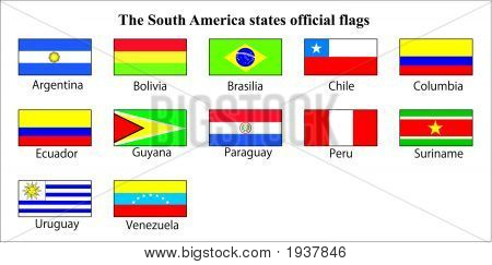 South America States Official Flags.Eps
