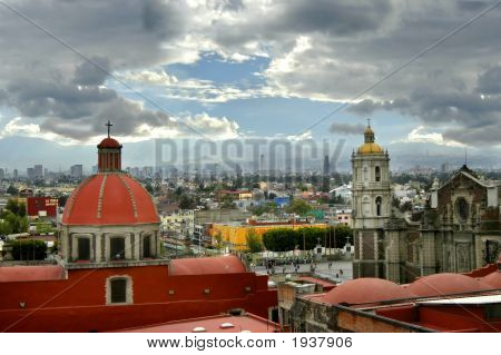 Mexico City Skyline With Smog