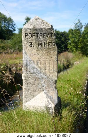 An Old English Milestone On The Road To Portreath, Cornwall.