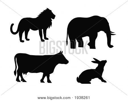 Black Animals Silhouettes,Vector