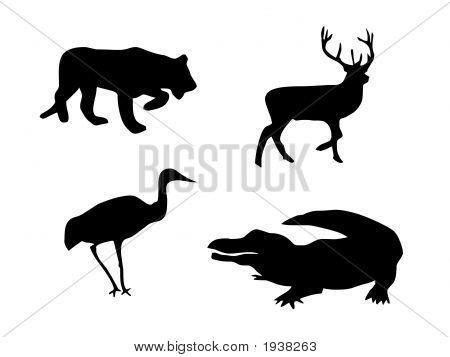 Lion, Deer, Bird And Crocodile Silhouettes