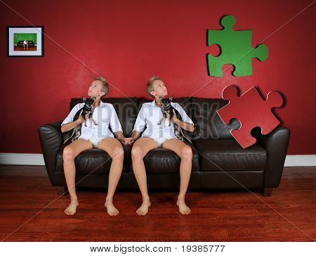 two girls looking at the wall and a missing puzzle piece