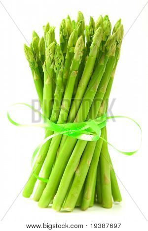 The beam of asparagus isolated on white background