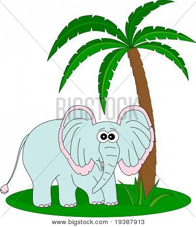 Elephant under the palm