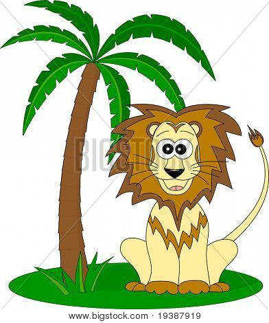 lion under the palm