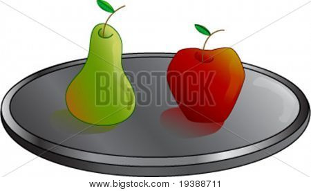 a pear and an apple on a silver tray