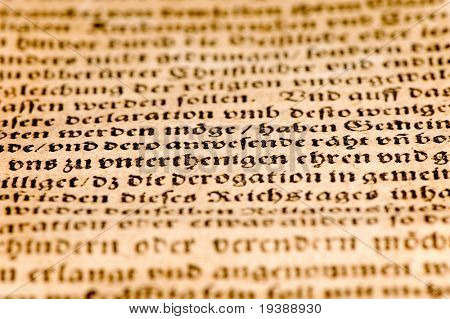 close up of an ancient german document