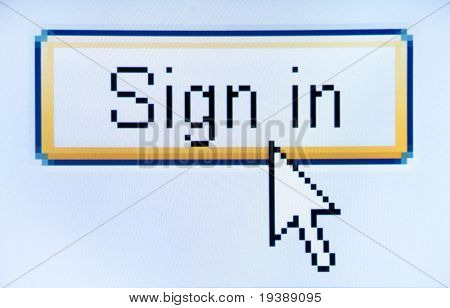 sign in button screenshot with a white cursor