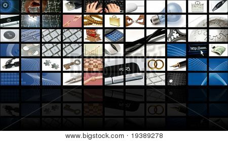 business and technology composition with many images