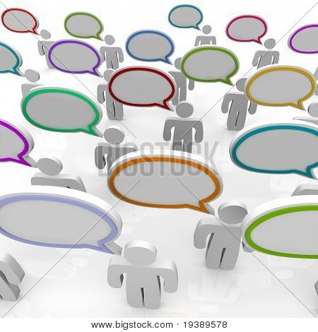 Many people speak with speech bubbles that are blank and can be filled with your text, or left empty to symbolize communication