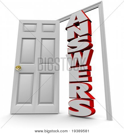 A white door opens to reveal the word answers, representing the successful search for solutions to complex questions