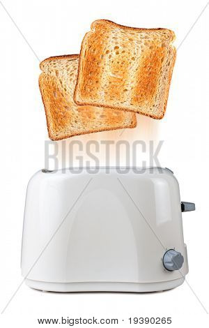 Toasts flying out of toaster