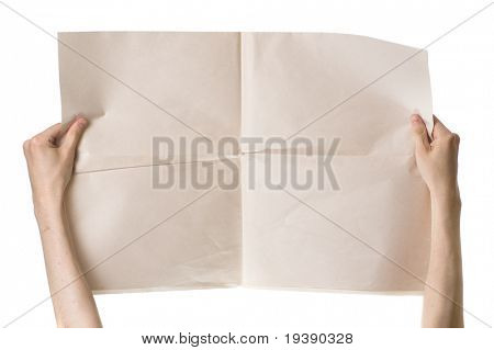 Hands holding blank newspaper