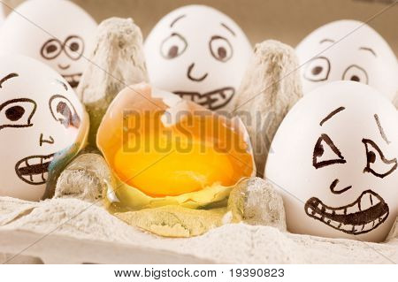 Eggs are scared as they see dead neighbor