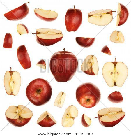 Red isolated apples collection