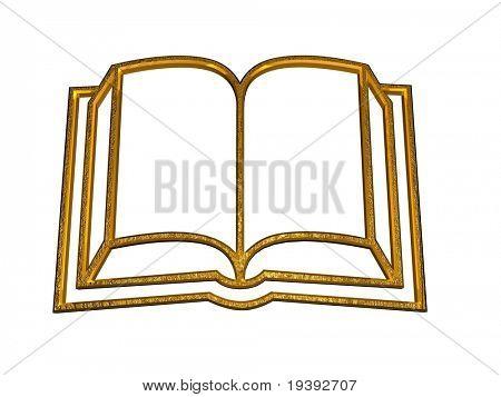golden 3d at book symbol