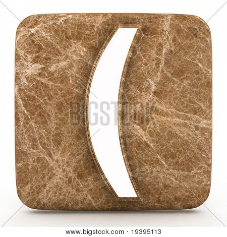 parentheses a in marble  on a white isolated background.