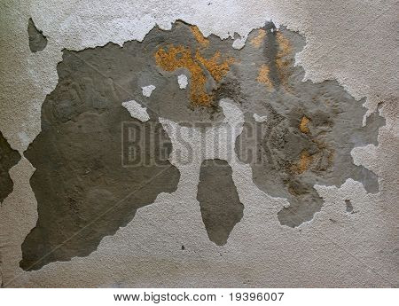 Showered plaster on a wall, reminding a map of the world