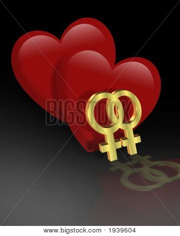 2 Female Gender Symbols With Hearts Gay Valentine