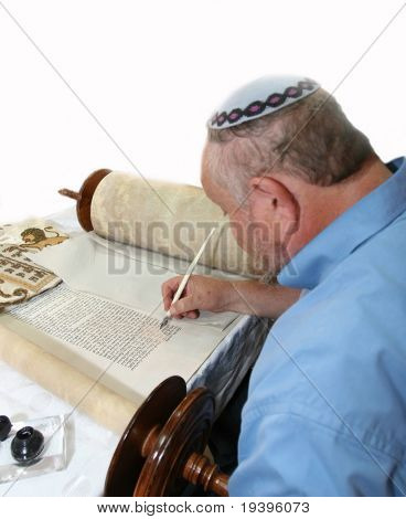 judaism.Torah. A sacred roll which is written in manual