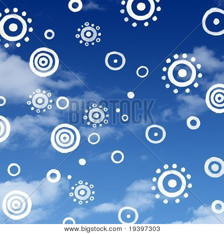 Rolled sun on bluesky pattern background