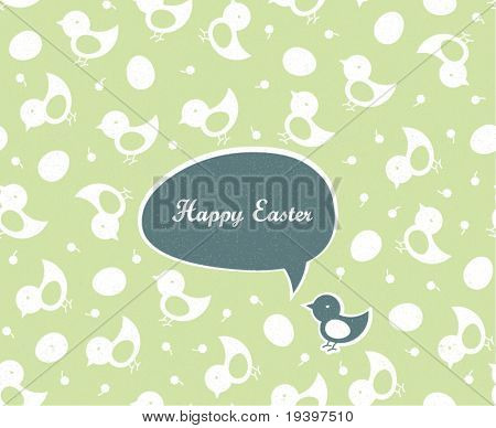 Easter greetings (green colors, spring gamma). Seamless chicks and eggs background.