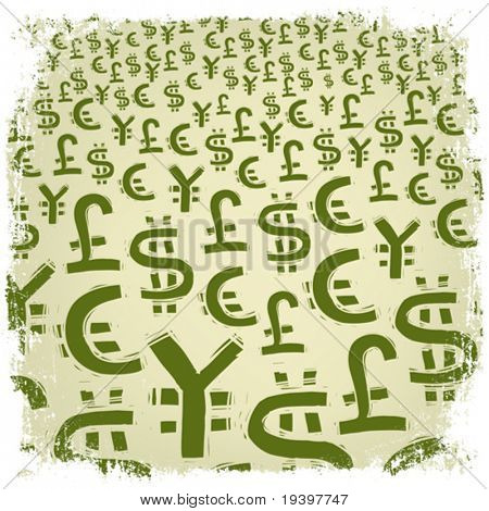 World Currency Symbols. Background illustration in green gamma.