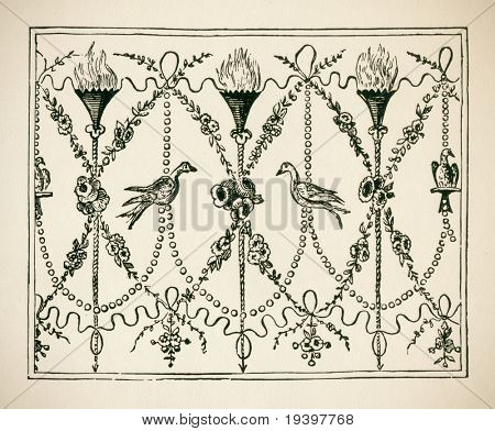 Ornaments Italiens. Frize, style Louis Seize. Engraving of 18 century. Copyright expired.